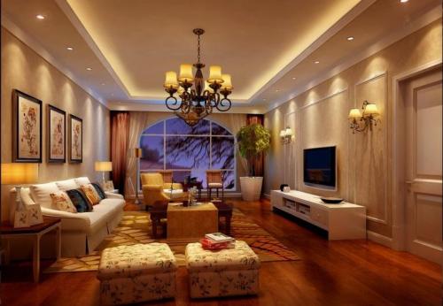 简欧风格三居室客厅梳妆台灯具装修效果图大全