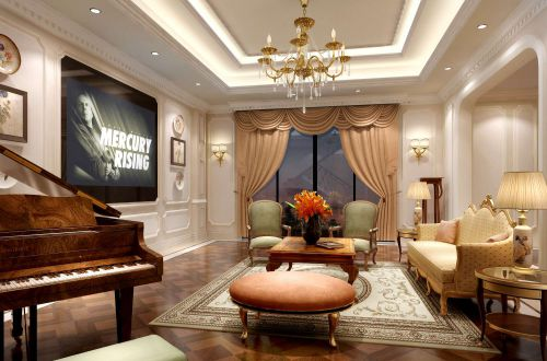 优美舒适简欧风格客厅效果图