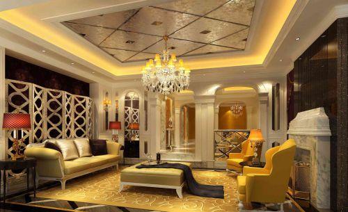 金碧辉煌的简欧风格客厅装修设计
