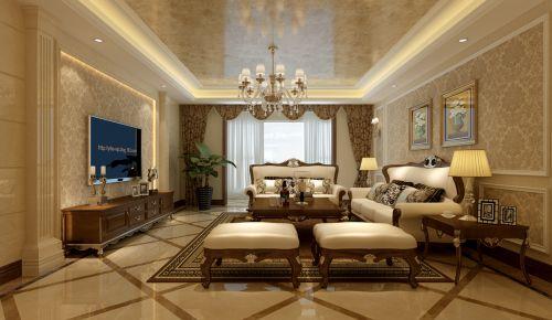 简欧风格三居室客厅壁纸装修图片