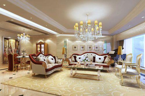 复古豪华简欧风格大客厅装修效果图