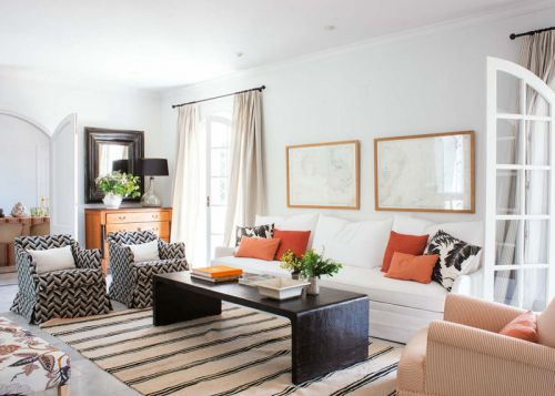 时尚简欧风格优雅白色客厅效果图