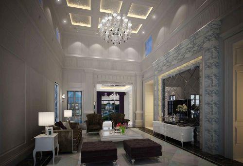 灰色调深沉简欧风格客厅装修效果图