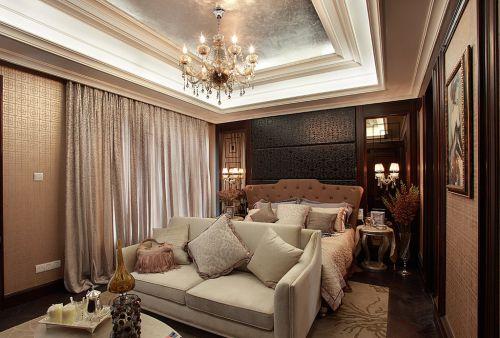 306平简欧风复式客厅吊顶装修效果图