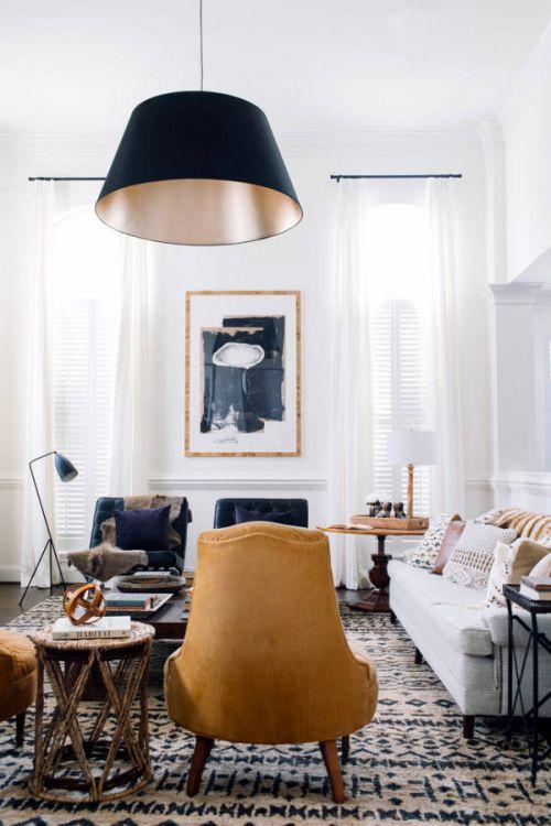 精致优雅简欧风格客厅灯具装修图片