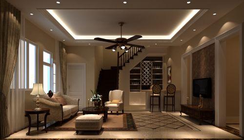 简欧风格五居室客厅楼梯装修效果图