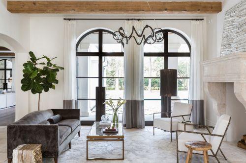 简欧风格格调优雅客厅灯具装修效果图