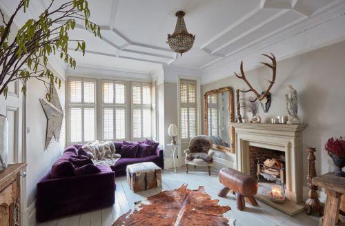 温情简欧风格客厅紫色沙发装修图片