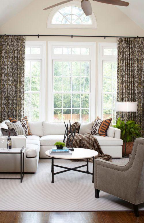 柔和舒适简欧风格客厅窗帘装修效果图