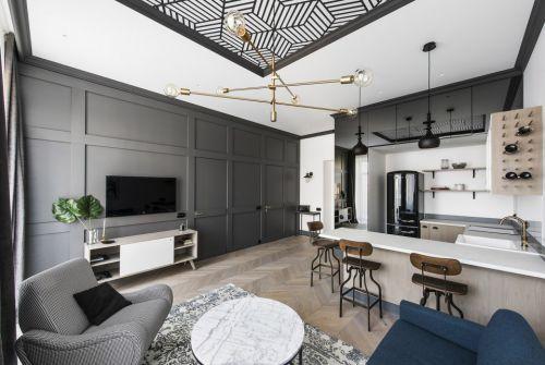 简欧风格一居室客厅茶几装修效果图大全