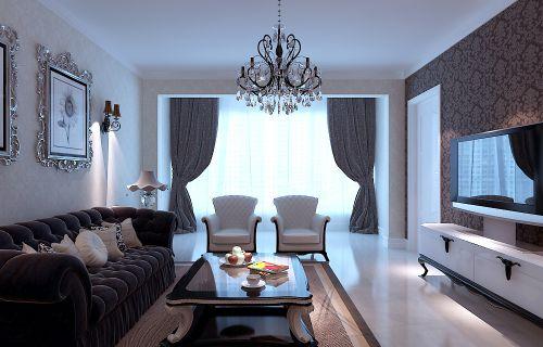 简欧风格二居室客厅吊顶装修效果图欣赏