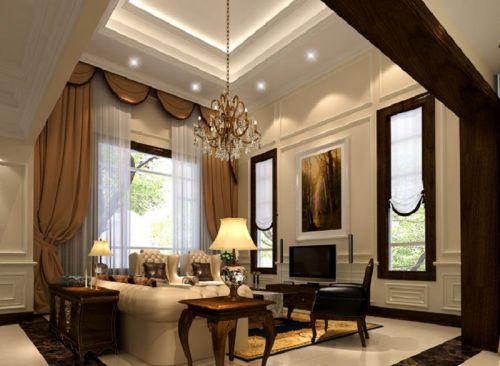 简欧风格别墅客厅吊顶装修效果图