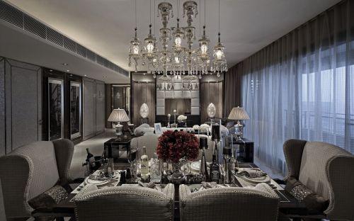 灰色系奢靡高贵简欧风格客厅效果图
