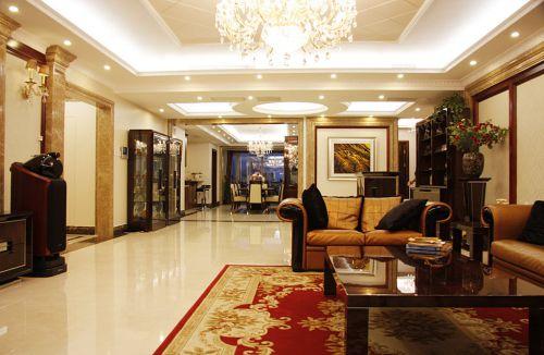 简欧风格四居室客厅吊顶,窗帘,沙发,茶几,灯具装修图片