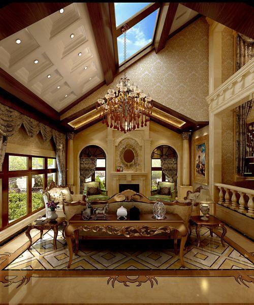简欧风格别墅客厅窗帘装修图片