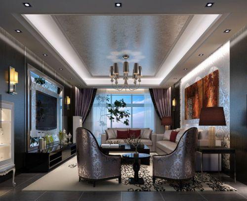 简欧风格四居室客厅背景墙装修效果图欣赏