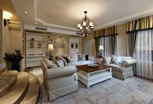 简欧风格三居室客厅飘窗装修效果图欣赏