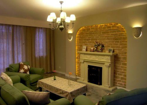 二居室简欧黄色客厅吊灯灯具效果图