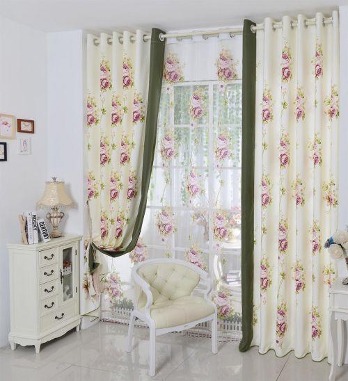 白色印花客厅简欧雅致窗帘效果图