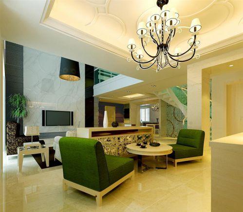 半隔断绿沙发简欧风别墅客厅装修效果图