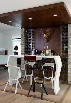 135平两室两厅简欧白色吧台设计效果图