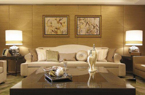 简欧浪漫白色沙发创意客厅背景墙装修效果图