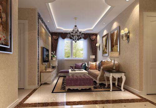 简欧风格(元洲装饰)二居室客厅装修效果图大全