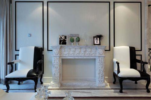 简欧风格精致黑白客厅背景墙装修效果图