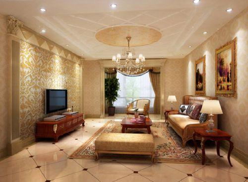 简欧风格三居室客厅电视柜装修效果图欣赏