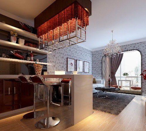 简欧风格二居室米色客户吧台装修效果图