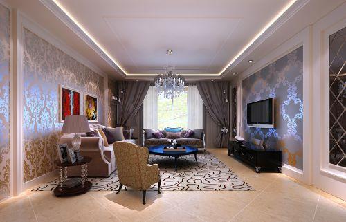 简欧风格四居室客厅背景墙装修效果图大全