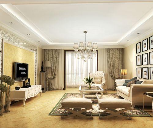 简欧风格二居室客厅窗帘装修效果图欣赏