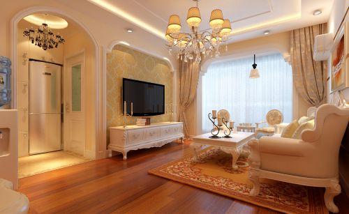 简欧风格一居室客厅背景墙装修效果图