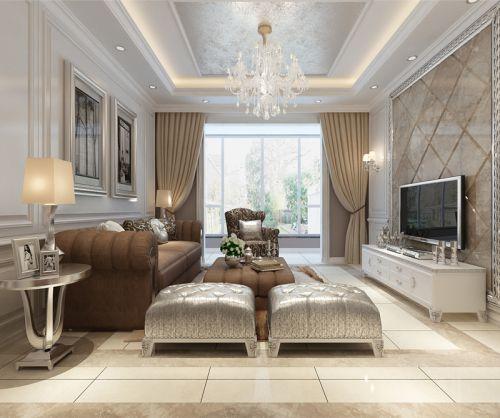 简欧风格二居室客厅窗帘装修效果图