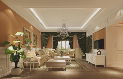 简欧风格四居室客厅沙发装修图片