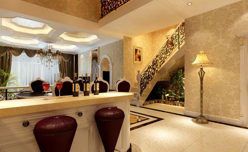 157平复式简欧风格米色客厅吧台装修效果图