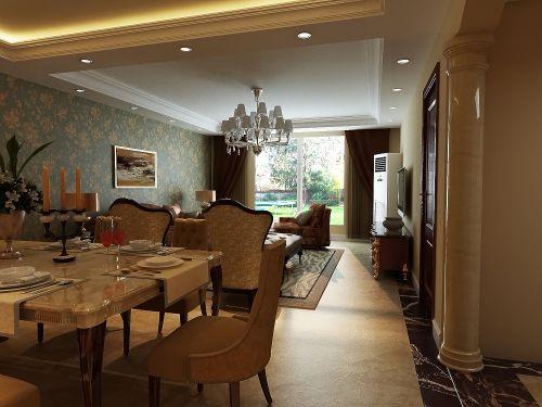 简欧风格二居室客厅餐桌装修图片