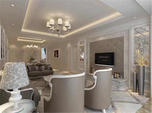 简欧风格三居室客厅壁纸装修效果图欣赏
