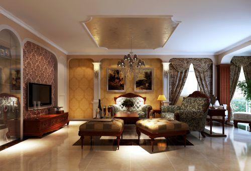 简欧风格三居室客厅装修效果图大全