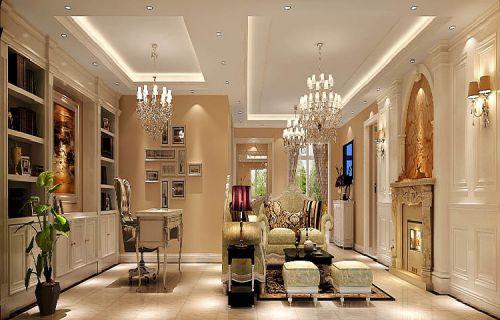 简欧风格五居室客厅照片墙装修效果图