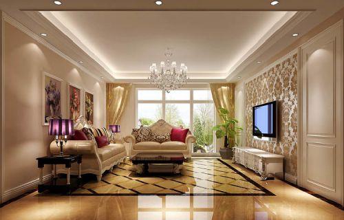 简欧风格三居室客厅照片墙装修效果图