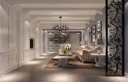 简欧风格三居室客厅壁纸装修效果图大全