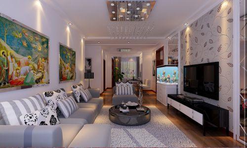 简欧风格二居室客厅沙发装修图片