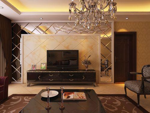 现代简欧三居室客厅装修效果图