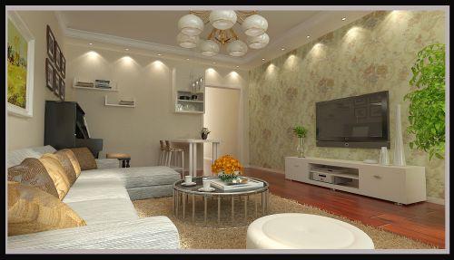 简欧风格二居室客厅吊顶装修效果图大全