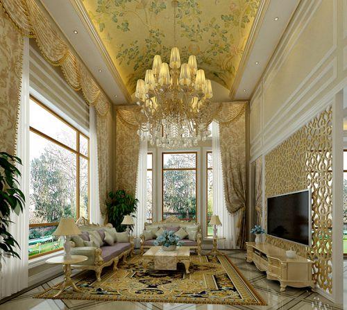 简欧风格别墅客厅窗帘装修效果图大全