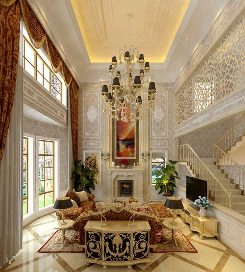 简欧风格别墅客厅背景墙装修效果图