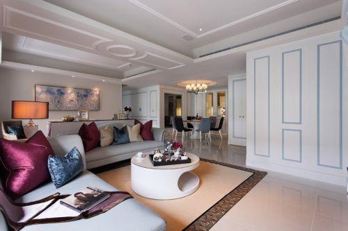 简欧风格三居室客厅窗帘装修效果图