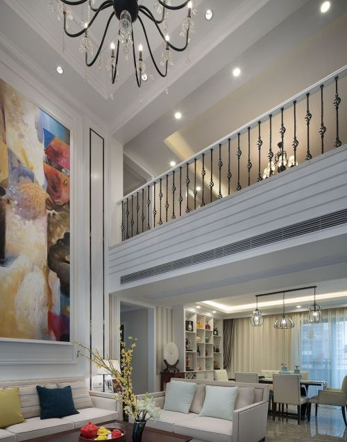 简欧风格四居室客厅吊顶装修效果图欣赏