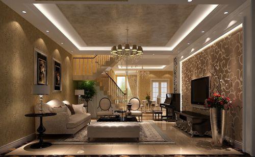 简欧风格四居室客厅照片墙装修效果图大全